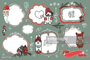 Christmas Doodles.Badges,labels with santa,animal,birds