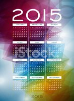 Calendar 2015 illustration on abstract color background.