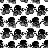 Black skull and rose seamless isolated pattern