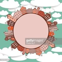 Collection of houses vintage on sky background Retro card circle