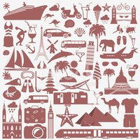 Travel. Vacations. Beach resort set icons. Elements for creating