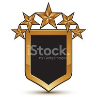 Branded golden geometric symbol with five stylized golden stars,