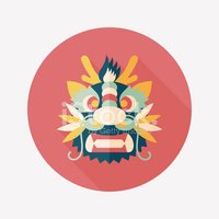 Chinese New Year dragon and lion dancing headflat icon ,eps10