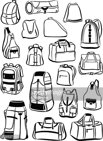 Contours Of Backpacks And Bags Stock Vectors