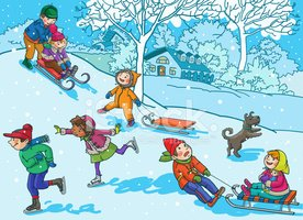 Winter Fun Happy Children Playing In The Snow Royalty Free Cliparts,  Vectors, And Stock Illustration. Image 89220193.