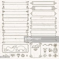 Vintage hand drawn design elements set 4. Vector illustration.