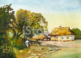 Women,Rustic,Thatched Roof,...