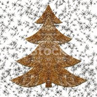 Illustration Of Golden Wired Christmas Tree. Seamless