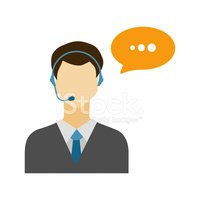 Call center male avatar icon with speech bubble.