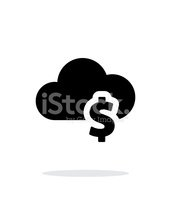 Cloud computing with dollar simple icon on white background.