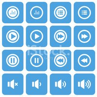 audio and music flat icon set, vector eps10