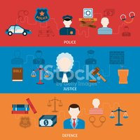 Crime and punishments horizontal flat banners