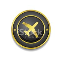 Sign,Airplane,Gold Colored,...