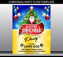Merry christmas party flyer template Vector illustration
