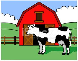 Cow And Barn Stock Vectors