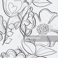 Seamless texture of meadow flowers. black contour