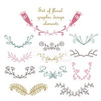 Set of hand drawn floral graphic design elements.