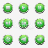 set green buttons for media player with shadow