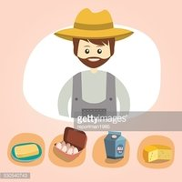 Set of colorful vector farm icons dairy produce illustration