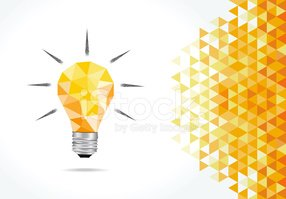 Idea Bulb and Polygonal Background