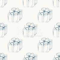 Gift boxes outline seamless pattern
