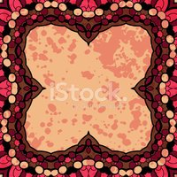 Oriental mandala motif lase frame on the light red background,