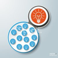 Infographic Design Connected Bulbs Blue Orange