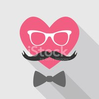 Valentine's Day Card - with Heart Face Mustache