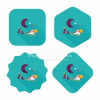 Santa Claus flat icon with long shadow, eps10