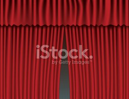 Red velvet curtains background. show stage or ceremony concept. vector  illustration.
