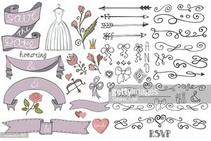 Doodle bridal shower  ribbon,border,decor elements set