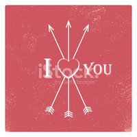 Vintage valentine card template with worn red background, arrows