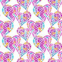Watercolor colorful seamless pattern with hearts