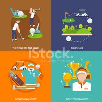 Golf,Flat,Vector,Icon Set,C...