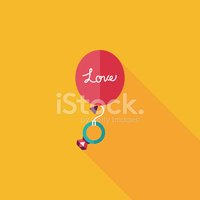 wedding balloons with diamond rings flat icon