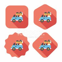 wedding car flat icon with long shadow, eps10