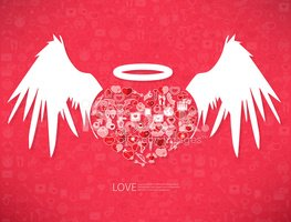 Red icon heart angel valentines day card