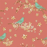 Hand Drawn Cherry Blossoms And Birds Tree Seamless Pattern