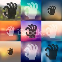 hand icon on blurred background