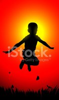 Child,Jumping,Silhouette,Pl...