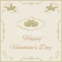 greeting card for Valentine's Day in vintage style