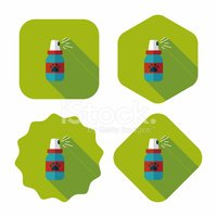 Pet flea sprays flat icon wtih long shadow, eps10