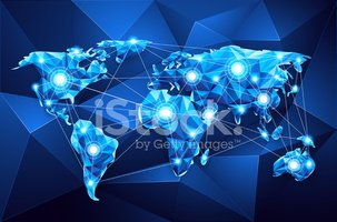 World Map,Blue,Technology,G...