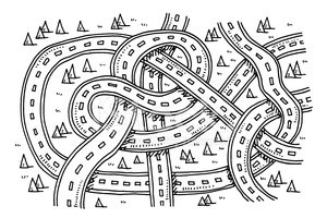 Roads View From Above Transportation Drawing Clipart Images