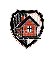 Safety idea, abstract heraldic symbol with house. Real estate