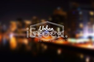 Vector blurred urban background. Night city