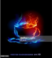 Fire background, cup of hot coffee or tea