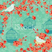Cherry Blossom,Pattern,Bird...