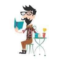 Book,Hipster,Cheerful,Vecto...
