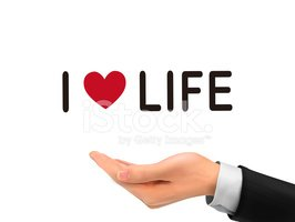 I love life words holding by realistic hand
